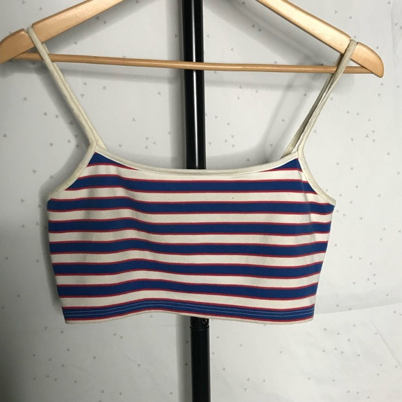 Topshop Tops - TopShop Red White & Blue Stripped Crop/Bralette